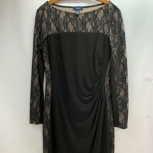 Chaps Black Lace Long Sleeve Ruched Sheath Dress